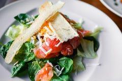 O vegetariano saboroso da grade do close up corta do salmão fumado com pão, rúcula do letuce e queijo no estilo europeu, refeição fotografia de stock