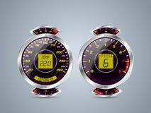 O velocímetro metálico brilhante e rev contra Fotografia de Stock Royalty Free