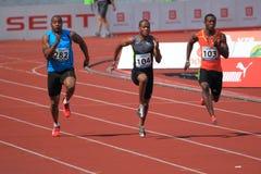 O velocista em 100 medidores compete em Praga 2012 Imagens de Stock Royalty Free