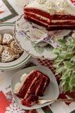 O veludo do vermelho do bolo Fotos de Stock Royalty Free