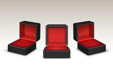 O veludo vermelho e preto vazio abriu as guardas-joias do presente isoladas ilustração royalty free