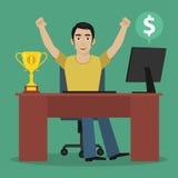 O vencedor do homem senta-se na tabela Fotografia de Stock