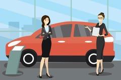 O vendedor caucasiano da mulher dos desenhos animados na sala de exposições do carro mostra o veh ilustração stock