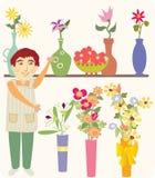 O vendedor de flor Fotografia de Stock