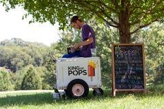 O vendedor do gelado espera clientes no parque Fotografia de Stock Royalty Free