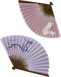 O ventilador japonês tradicional, duas variações Fotografia de Stock Royalty Free