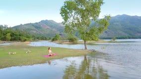 O vento agita os ramos de árvore refletidos na água pela menina filme