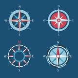 O vento aumentou, grupo liso do ícone do compasso do vetor Imagens de Stock