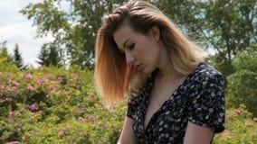 O vento joga com o cabelo de uma jovem mulher vídeos de arquivo