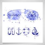 O verão ajustou-se com óculos de sol, leme, âncora, navio, corda de salvamento Imagens de Stock