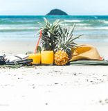 O verão bebe com fruto na praia, ainda vida exótica Fotografia de Stock