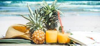 O verão bebe com fruto na praia, ainda vida exótica Imagem de Stock Royalty Free