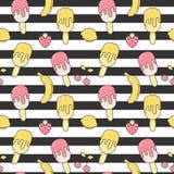 O verão bonito listrou a ilustração sem emenda do fundo do teste padrão do vetor com gelado, morango, limão, cereja e banana Fotos de Stock