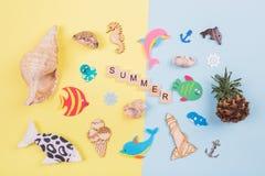 O verão da inscrição, tema do mar Foto de Stock Royalty Free