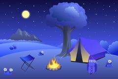 O verão de acampamento do prado ajardina a ilustração da árvore da fogueira da barraca da noite Fotos de Stock