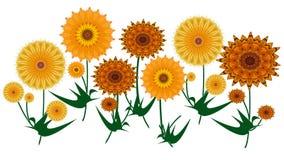 O verão digital amarelo e alaranjado colorido da arte floresce no branco ilustração royalty free