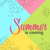 O verão do cartão está vindo no fundo colorido ilustração royalty free