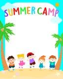 O verão feliz caçoa a ilustração do cartaz do vetor do acampamento Fotografia de Stock