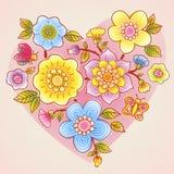 O verão fino floresce com borboleta, joaninha e coração. Imagens de Stock