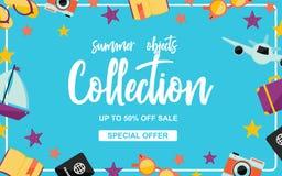 O verão objeta o cartaz da coleção com elementos do verão no fundo azul ilustração royalty free