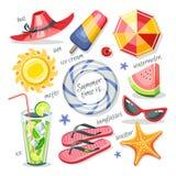 O verão objeta a coleção Imagem de Stock Royalty Free