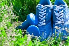 O verão ostenta a composição com sapatilhas e pesos azuis Fotografia de Stock