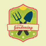O verão ou as molas do vetor do vintage deixam para ir jardinar Imagens de Stock Royalty Free