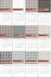 O verde antigo do bronze e de garrafa coloriu o calendário geométrico 2016 dos testes padrões ilustração stock