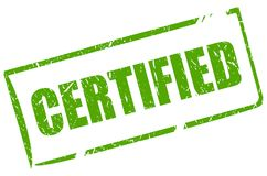 O verde certificou o selo do grunge Imagem de Stock Royalty Free