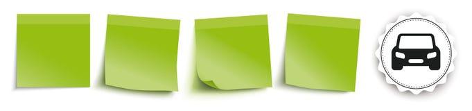 O verde cola o emblema do carro do encabeçamento ilustração do vetor