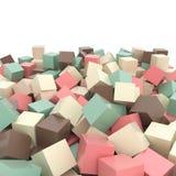 O verde cor-de-rosa, bege, marrom de turquesa coloriu os cubos 3D simples no branco Fotografia de Stock Royalty Free
