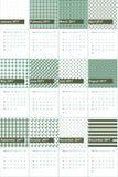 O verde da cicuta e do oceano coloriu o calendário geométrico 2016 dos testes padrões Fotografia de Stock