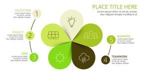 O verde das setas do círculo do vetor deixa o eco infographic Diagrama da ecologia, gráfico da flor Fotografia de Stock