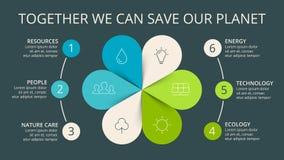 O verde das setas do círculo do vetor deixa o eco infographic Diagrama da ecologia, gráfico da flor Imagem de Stock