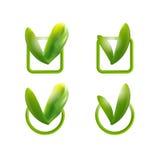 O verde deixa a marca de verificação Fotografia de Stock Royalty Free