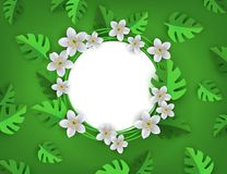 O verde do vetor deixa o molde do fundo do quadro Fotos de Stock Royalty Free