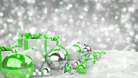 O verde e os presentes e as quinquilharias do White Christmas alinharam o renderin 3D Fotografia de Stock Royalty Free