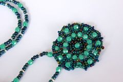 O verde feito a mão perla a colar Imagem de Stock