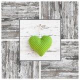 O verde feito a mão pontilhou a forma do coração e o quadro de madeira - feitos a mão - Fotos de Stock Royalty Free