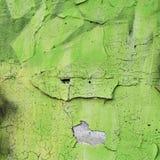O verde pulverizou a superfície em uma parede flocoso velha foto de stock royalty free