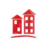 O vermelho abriga o ícone Imagens de Stock Royalty Free