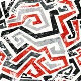 O vermelho abstrato do grunge curvado alinha o teste padrão sem emenda Foto de Stock