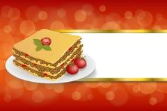 O vermelho abstrato do verde amarelo de tomate da carne do alimento das lasanhas do fundo listra a ilustração do quadro do ouro Fotos de Stock