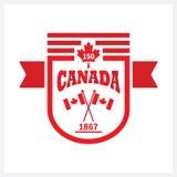 O vermelho arredondou a bandeira Canadá 150 e embandeira o ícone do emblema Foto de Stock