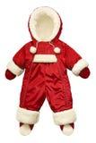 O vermelho caçoa o jumpsuit do inverno isolado no branco Foto de Stock