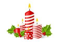 O vermelho Candles a flama do Xmas ilustração royalty free