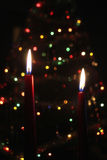 O vermelho Candles a flama do Xmas Fotos de Stock