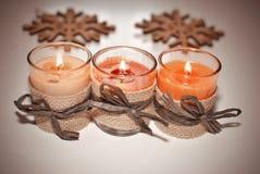 O vermelho Candles a flama do Xmas Imagens de Stock Royalty Free