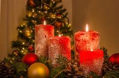 O vermelho Candles a flama do Xmas Imagem de Stock Royalty Free