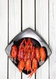 O vermelho cozinhou lagostas na placa retangular preta Lagostins fervidos woden o fundo Estilo rústico fotografia de stock royalty free